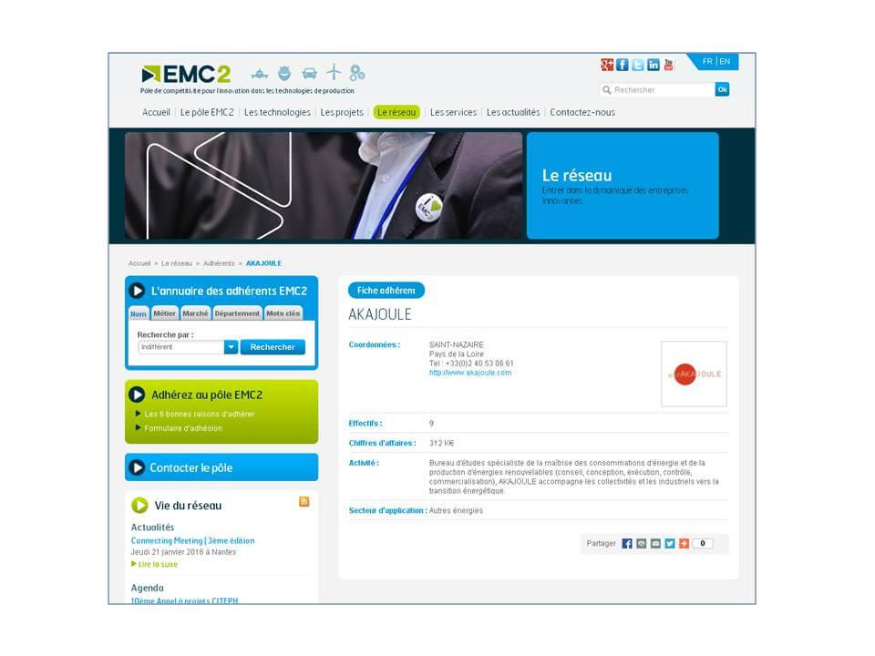Akajoule sur le site EMC2